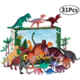 iBaseToy Dinosaur Toys Playset 31 Pieces - Includes 15 Dinosaur Figures , 15 Trees and Rockery, 1 Map - Preschool Educational Learning Dino Sets for Kids Toddlers Boys Girls