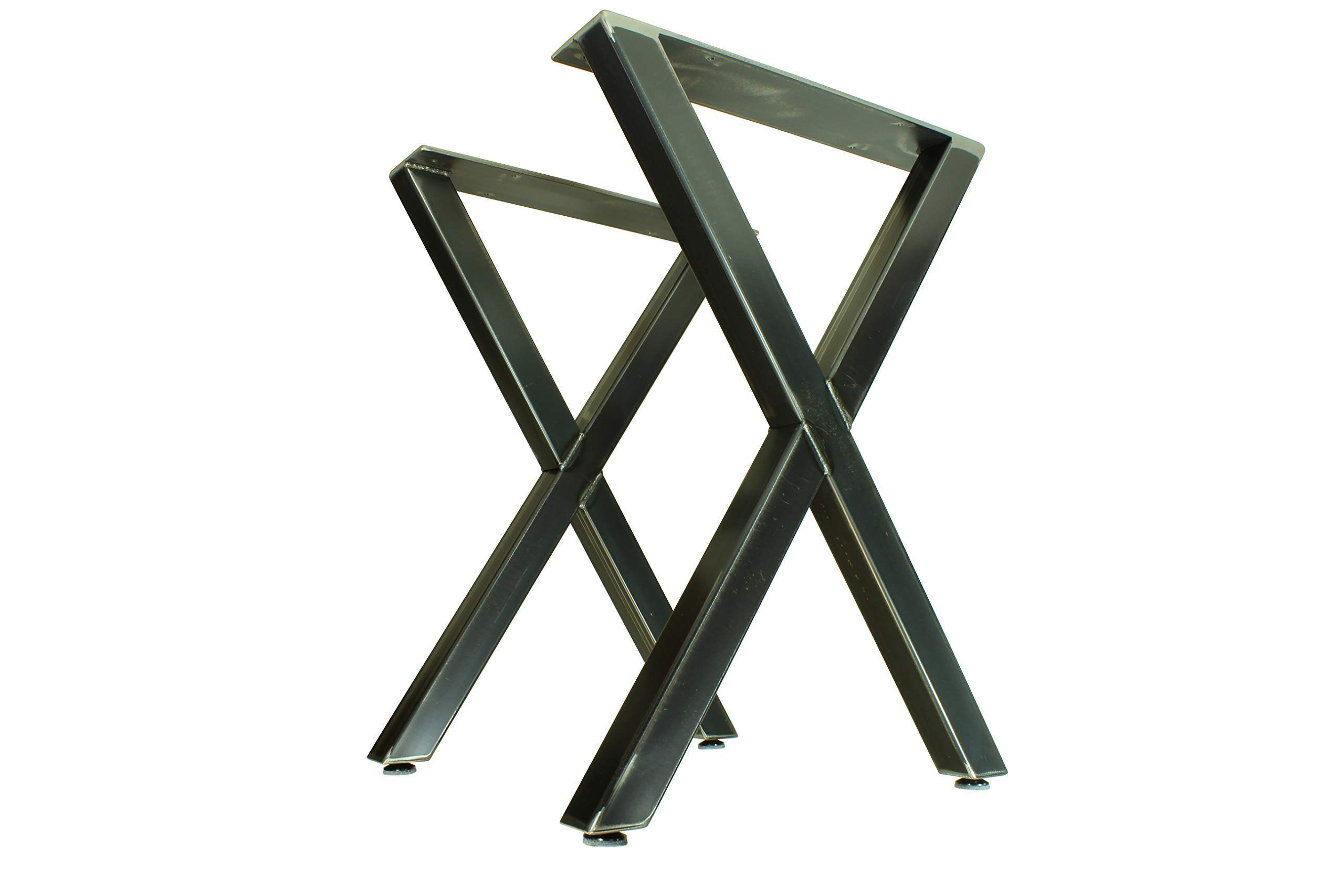 Metal Table Legs - X Style - Industrial Rustic Finish - Table Height to Bar Height