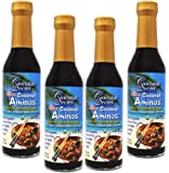 Coconut Secret Raw Coconut Aminos, Soy-Free Seasoning Sauce, 8 fl oz,4 pk