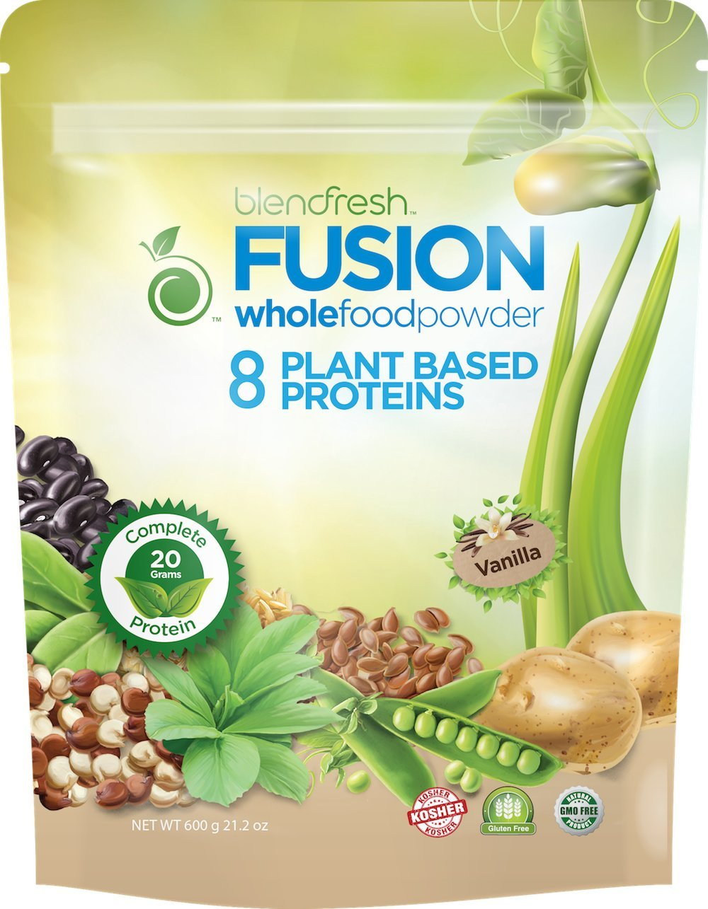 Plant-Based Vanilla Protein Sourced from 8 Different Plant Based Proteins 20 Grams Serving by Blendfresh.