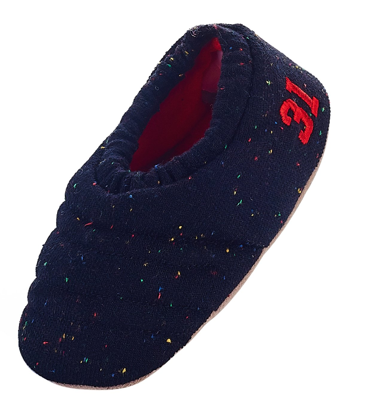LA PLAGE Toddler Warm Soft Non Slip House Indoor Slippers Size Toddler 9-10 US Black