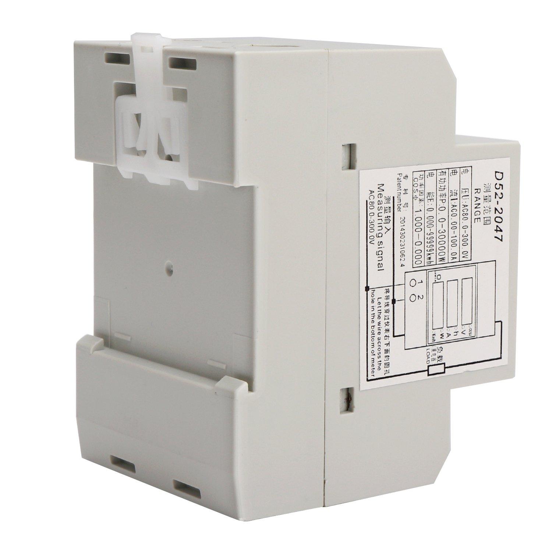 DROK DIN Rail Digital Multimeter AC Voltmeter Ammeter Power Energy KWh Meter Power Factor Accumulation Time Monitor Multifunction Meter by DROK (Image #5)