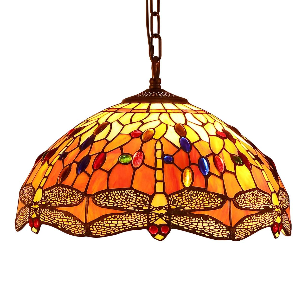 Bieye L30715 Dragonfly Tiffany Style Stained Glass Ceiling Pendant Light With 16 Inches Wide Handmade Lamp Shade Orange Buy Online In Aruba At Aruba Desertcart Com Productid 147004311