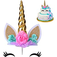 COONOE, Unicorn Cake Topper,Handmade Party Cake Decoration Supplies with multiple Eyelashes,Reuasble Gold Horn for…