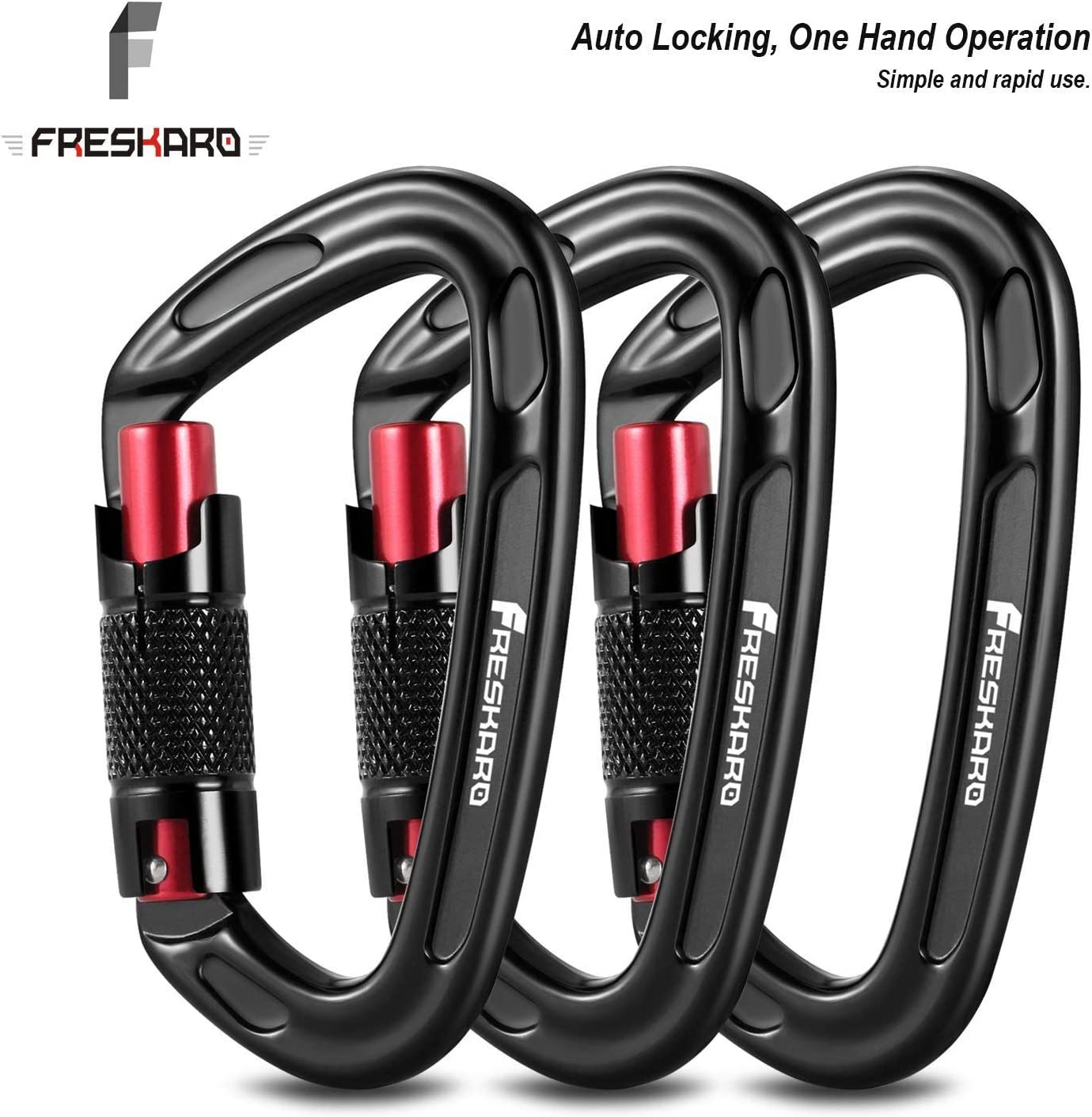 FresKaro 2020 UIAA Certified 25KN Auto Locking Climbing Carabiner Clips,Twist Lock and Heavy Duty Carabiners for Rock Climbing, Rappelling and Locking Dogs, D Shaped 3.93 Inch, Large Size, Black