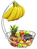 ESYLIFE Wire Fruit Bowl Display Basket with Banana Hanger Hook, Silver