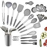 Juego de utensilios de cocina, 34 piezas de utensilios de cocina de silicona antiadherente con soporte, mango de acero inoxid