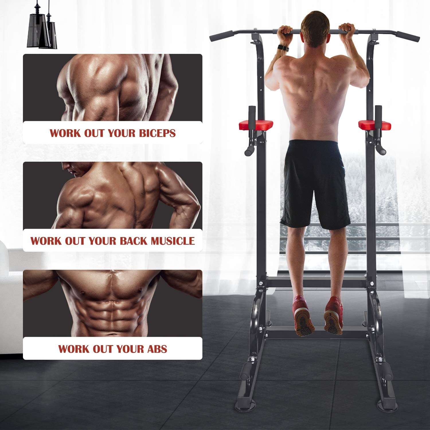 RELIFE REBUILD YOUR LIFE Power Tower Pull Up Dip Station for Home Gym