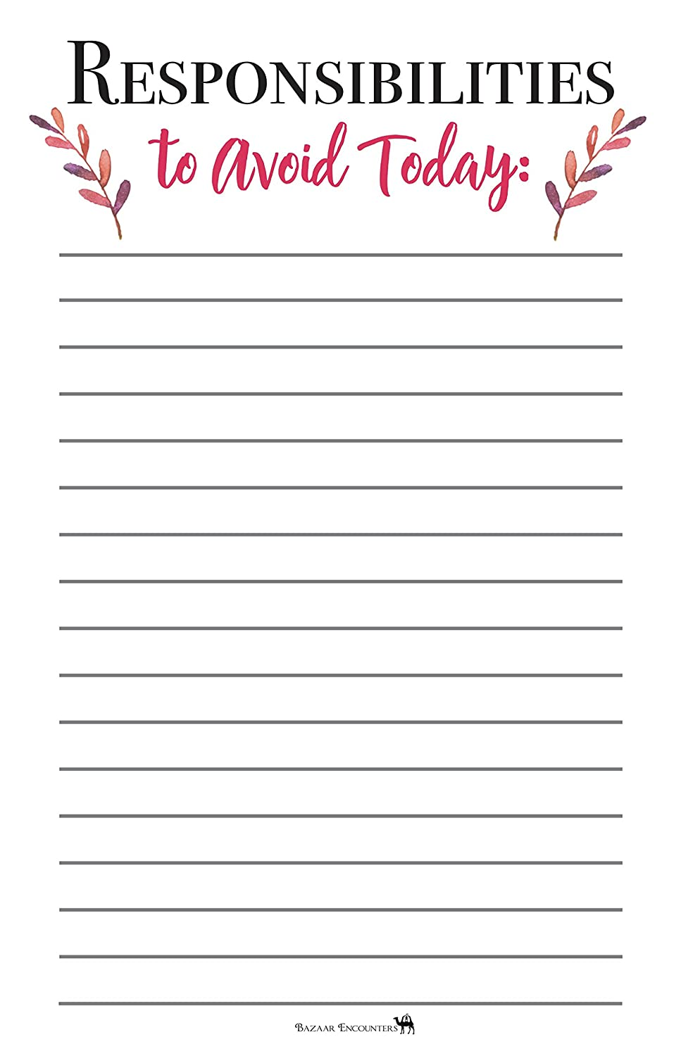 Responsibilities To Avoid Today, Adulting To Do List Magnetic Pad, Graduation Gift Idea, Grocery List for Fridge, Funny Notepad with Magnet, 50 Sheets, 5.5 x 8.5, Dorm, Office Gift! Made in USA