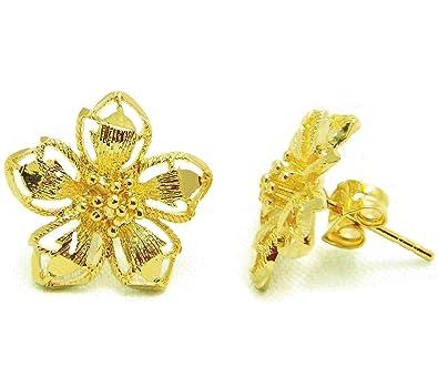 Amazon flower earrings 23k 24k thai baht yellow gold plated flower earrings 23k 24k thai baht yellow gold plated filled earrings design from thailand mightylinksfo