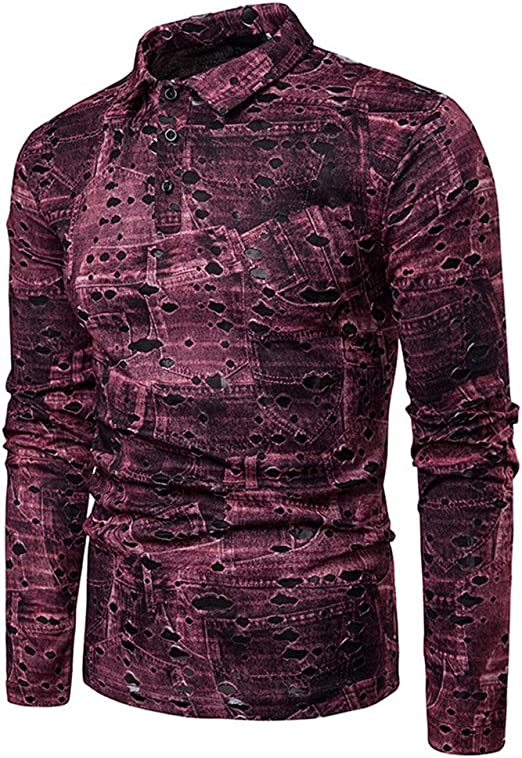 Camisa de Vestir Slim fit para Hombre Hombres Ahueca hacia Fuera ...