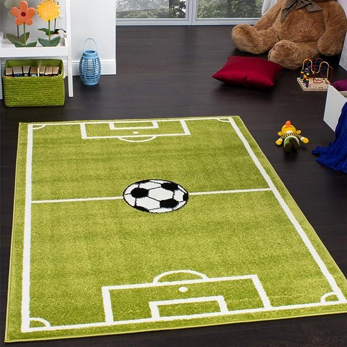 Paco Home Alfombra Infantil - Diseño Campo De Fútbol - Verde b2b71e4174eff