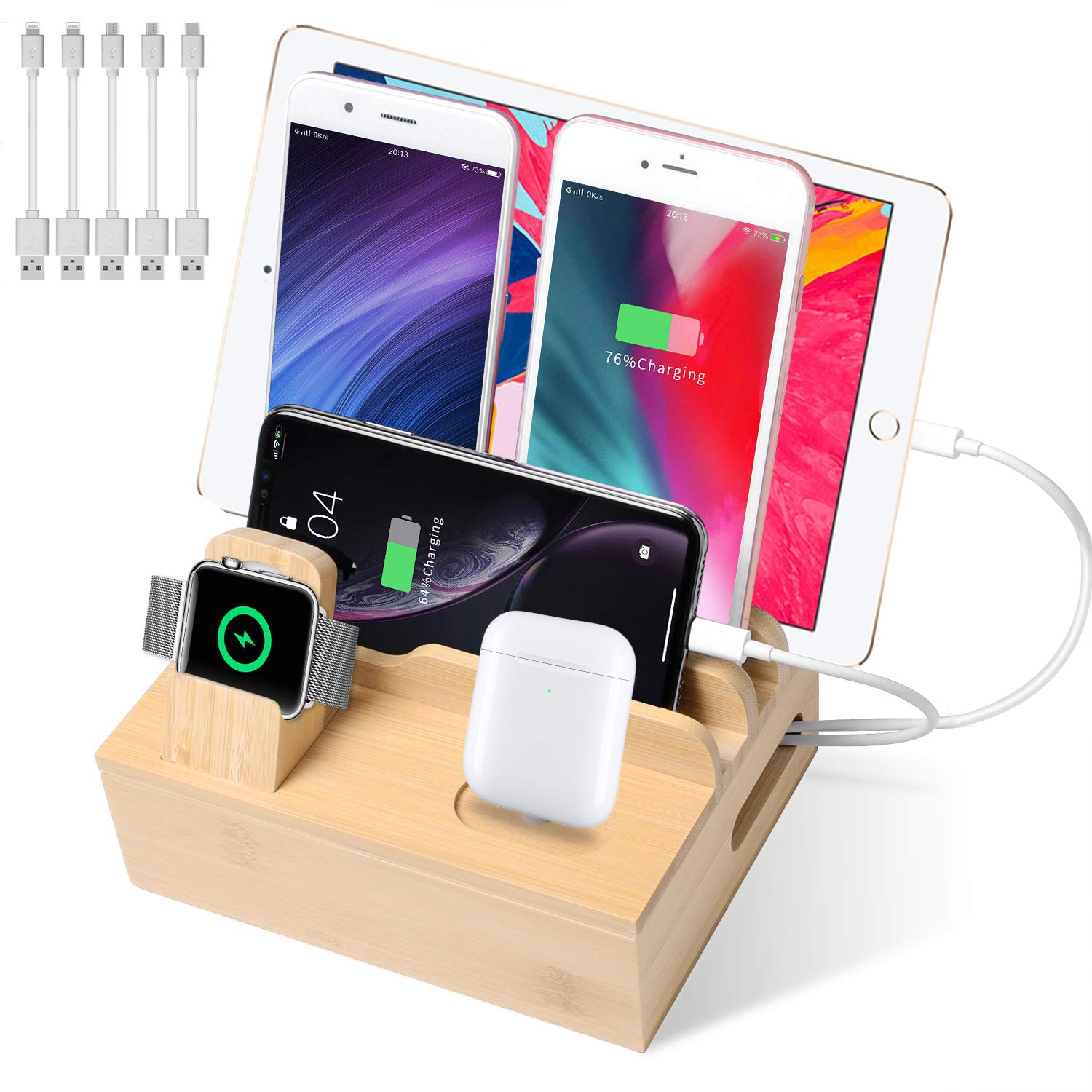 BAUBEY Bamboo Charging Station with 5-Port USB Charger, Fast Desk Wood Charging Docking Organizer for Universal Cell Phone, Tablet, Apple Watch, Airpods(5 Pack Cables Included)