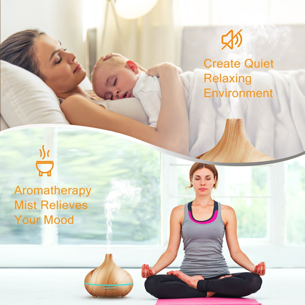 300ml cold fog humidifier ultrasonic aromatherapy essential oil disperser, wood grain 6 timing7 color LED automatic induction, no water closed function, office, home, living room, study, yoga, spa by Top-Fans (Image #7)