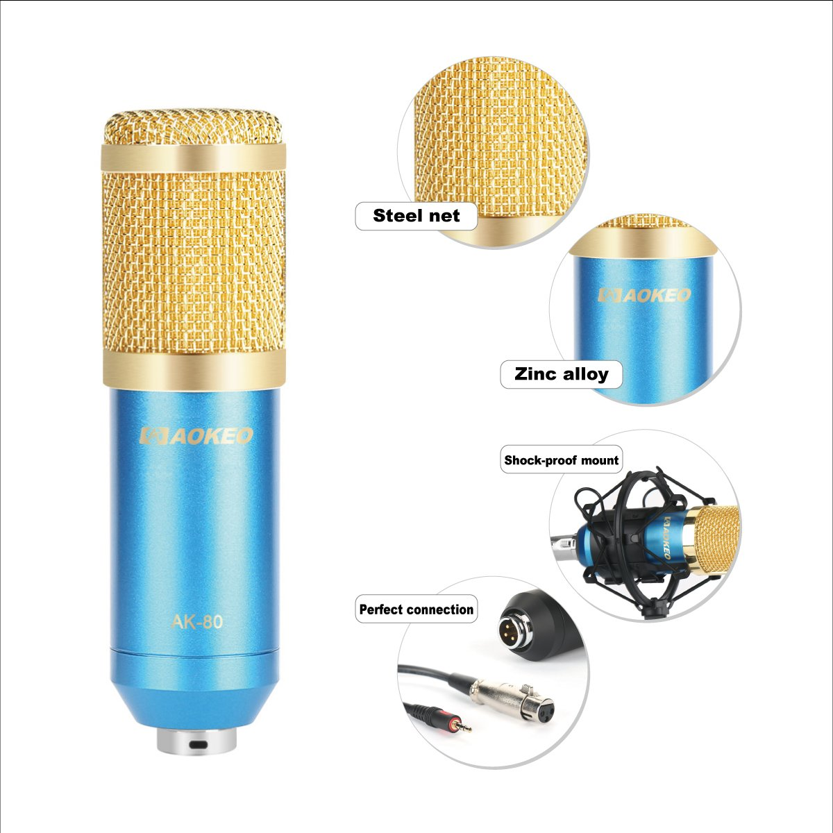 Aokeo AK-80 Professional Studio Recording Condenser Microphone Plug and Play Mic, Cardioid Pickup, Compatible Phone, Computer, Laptop,Youtube, Podcasting,Twitch, Skype,MSN,Gaming,Singing (Blue)