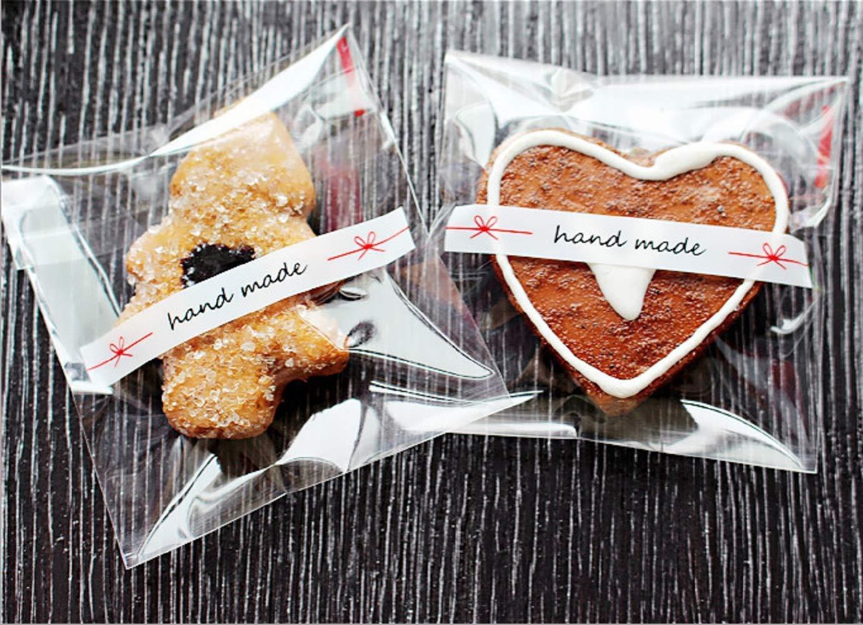 200 bolsas de pl/ástico adhesivas hechas a mano para galletas aperitivos chocolate caramelos 3,94 x 3,94 + 1,18 pulgadas fiesta de cumplea/ños