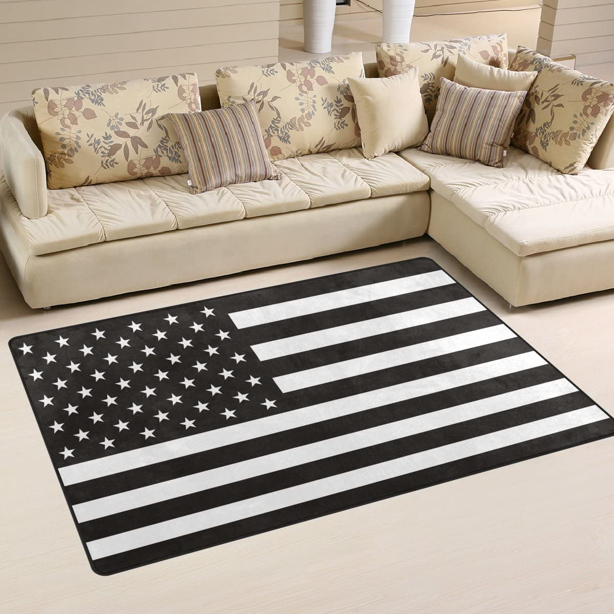 LORVIES Black and White American Flag Area Rug Carpet Non-Slip Floor Mat Doormats for Living Room Bedroom 60 x 39 inches