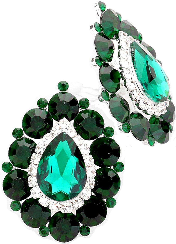 Schmuckanthony Hoernel. Pendientes grandes de lujo para boda, cóctel, bola, joya de noche, clip, pendientes de clip, cristal verde esmeralda transparente, 4,50 x 3 cm, grande