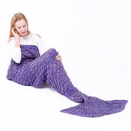Manta hecha a mano manta cola de sirena cómodo sofá y aire acondicionado manta, todas