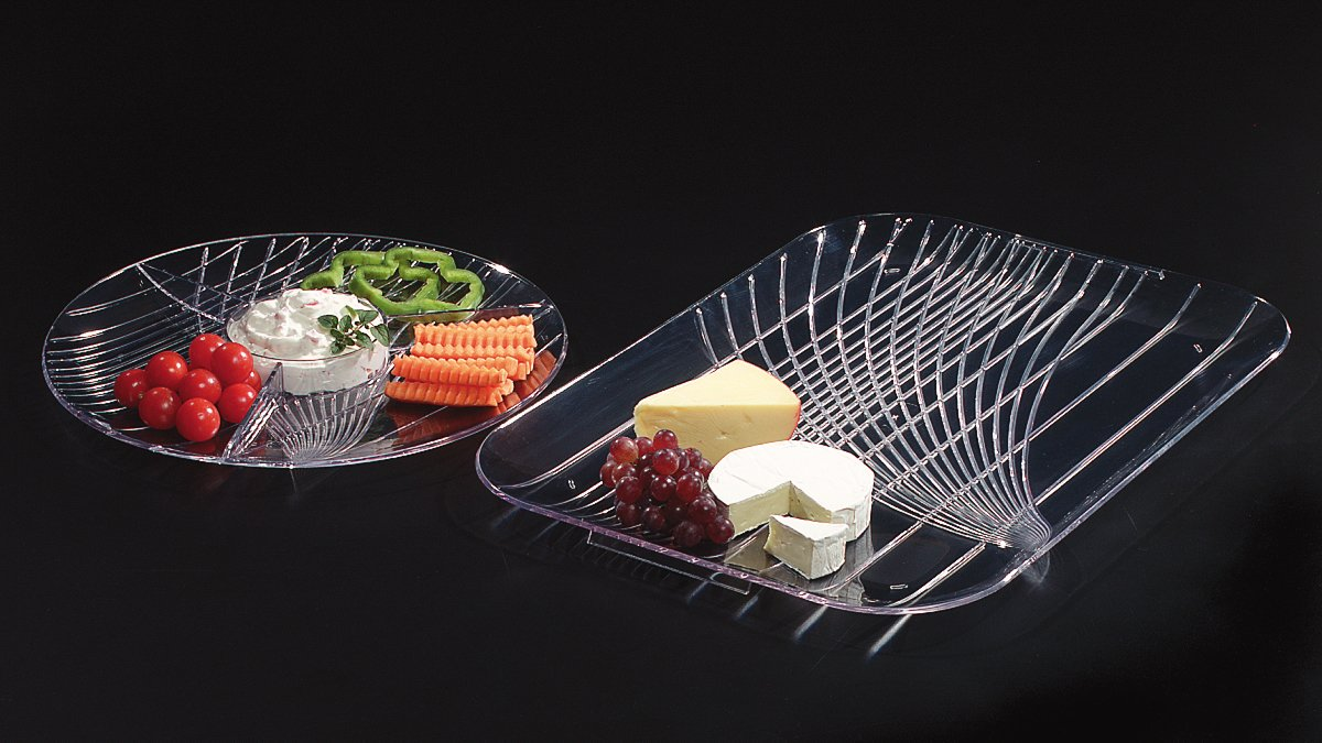 Carlisle 642607 Festival Handled Catering Tray, 22'' x 16'', Clear (Pack of 6)