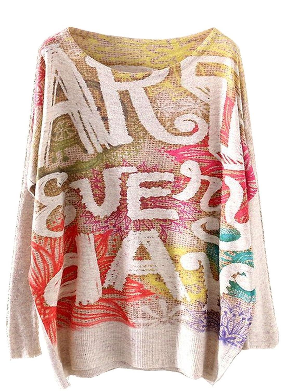 KaiTingu Vintage Women's Long Batwing Sleeve Pullover Sweater Letter Print
