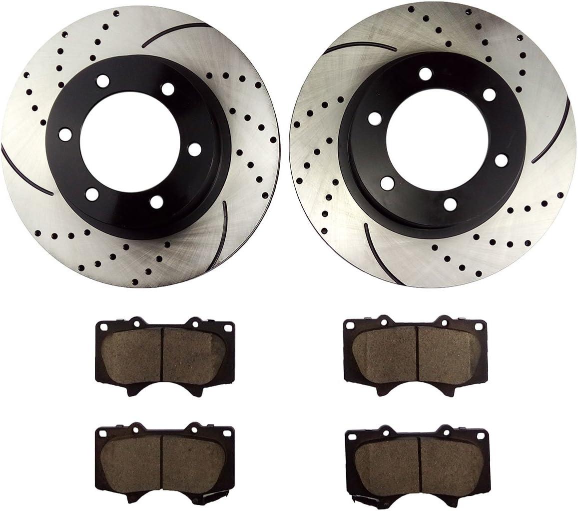 2009 2010 Fit Toyota Tacoma w//5 Stud Whl OE Replacement Rotors w//Ceramic Pads F