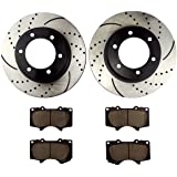 Atmansta QPD10046 Front Brake kit with Drilled/Slotted Rotors and Ceramic Brake pads for Toyota 4Runner FJ Cruiser Tacoma