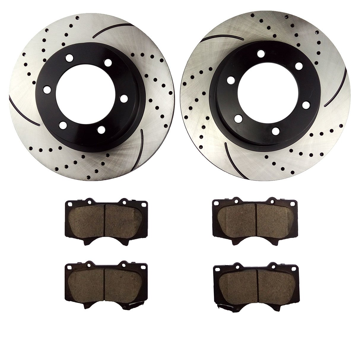 Atmansta QPD10046 Front Brake kit with Drilled//Slotted Rotors and Ceramic Brake pads for Toyota 4Runner FJ Cruiser Tacoma QD10545 QP20321