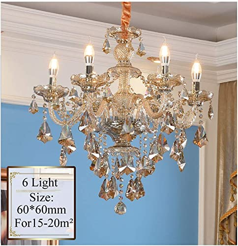Lymxxl Contemporary K9 Crystal Chandelier 6 Lights Cognac Color Candle Pendant Light Adjustable Chain Fixtures Hanging