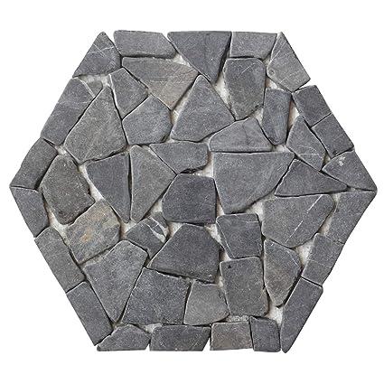 Interlocking Hexagon Shape Pebble Floor Tiles (1-Sheet ...