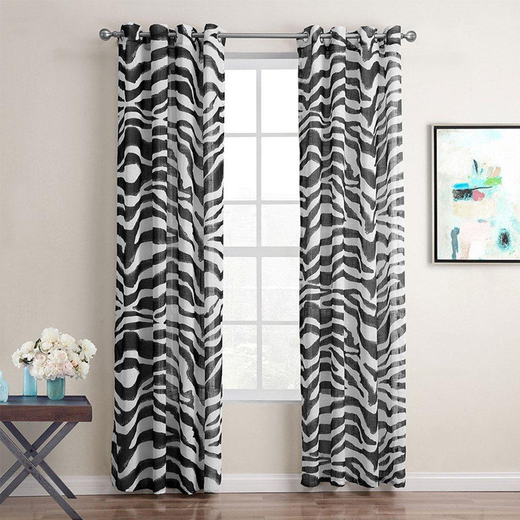 LxW Gwell 1 Pi/èce Zebra Rideaux Demi Transparent Noir et Blanc pour Fen/être Chambre Salon Cuisine 160x140 cm