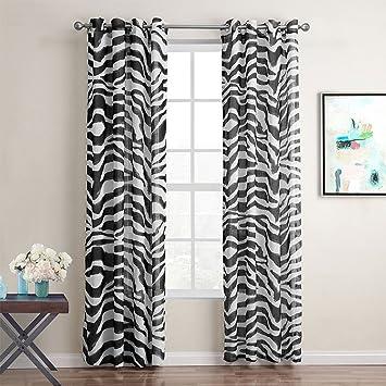GWELL Zebra Transparent Gardinen Ösenschal Vorhang Mit Ösen Dekoschal Für  Wohnzimmer Schlafzimmer 1er Pack 160x140cm