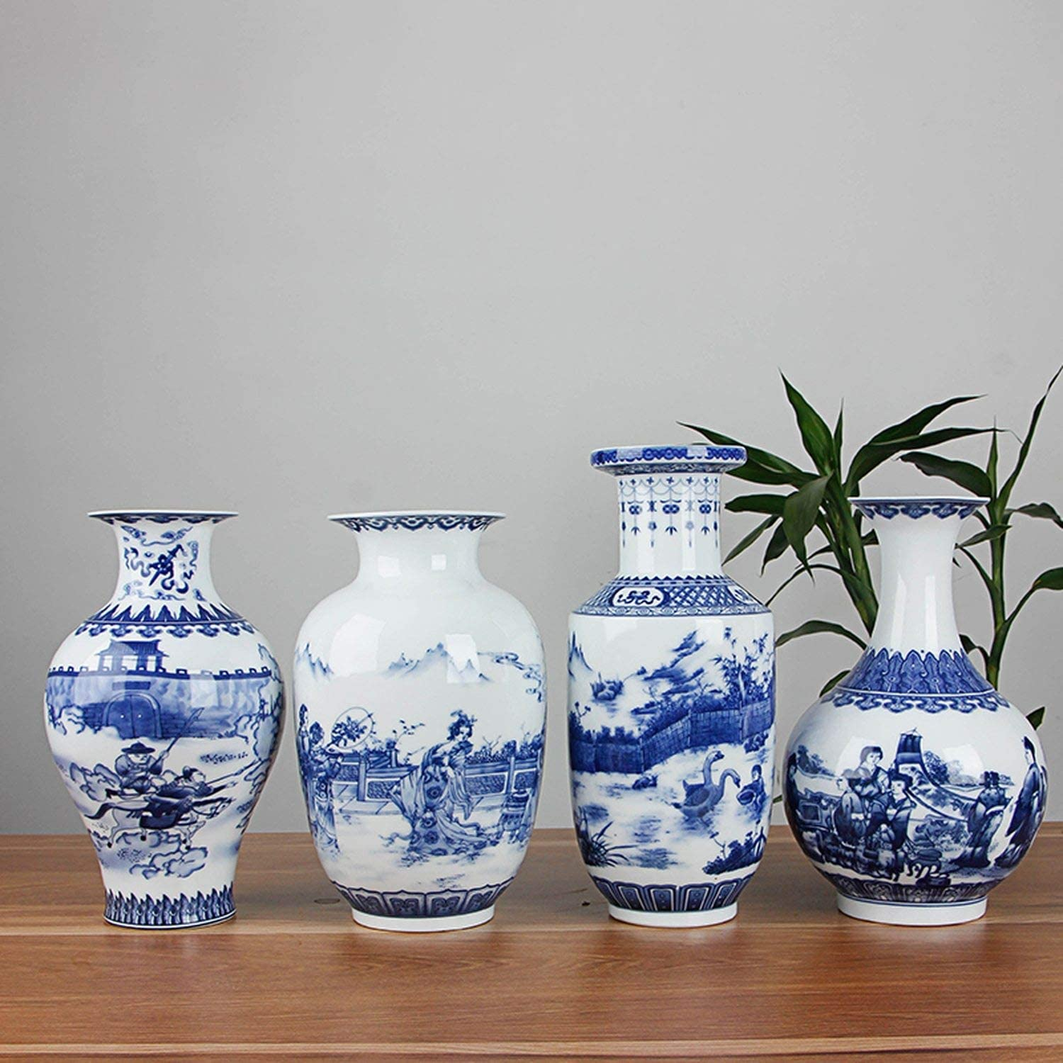 Classic Chinese Blue and White Ceramic Vase Antique Tabletop Porcelain Flower Vase for El Dining Room Decoration,A