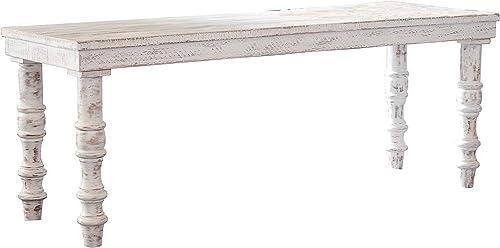 Signature Design by Ashley – Dannerville Accent Bench – Vintage – Antique White