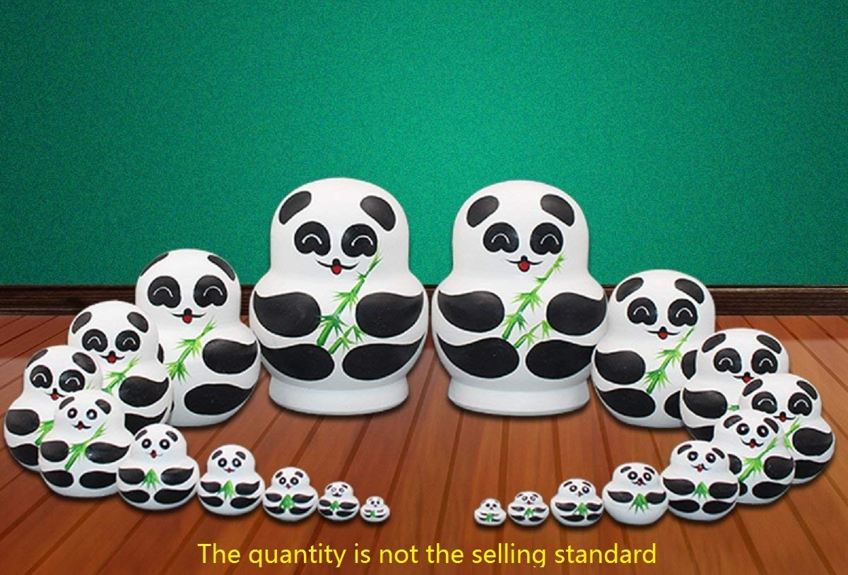 LK King&Light 10pcs Pandas Russian Nesting Dolls by LK (Image #4)