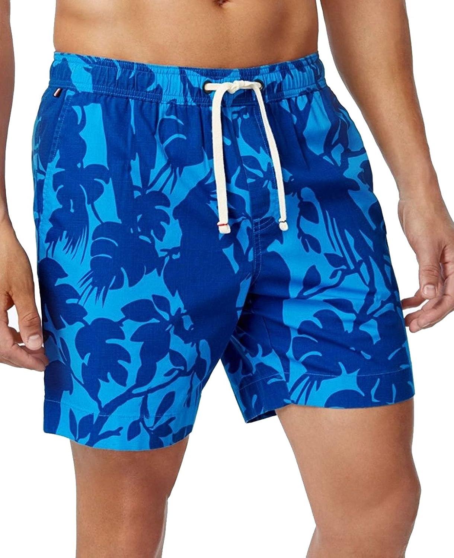 Tommy Hilfiger Men's 7-inch Skylark Botanical-Print Drawstring Shorts