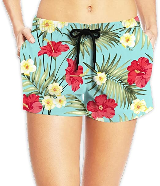 SARA NELL Mens Swim Trunks Floral Flower Red Blue Yellow Surfing Beach Board Shorts Swimwear