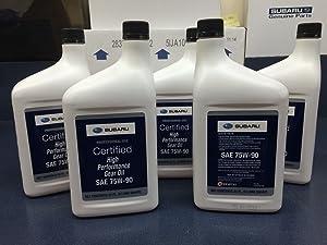 Subaru 75W90 Extra S Gear & Transmission Fluid - 5 quart Bottles Sti Wrx Genuine SOA427V1700 X5