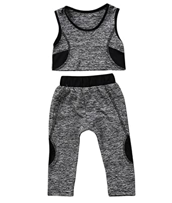 7484e7efb Toddler Kids Baby Girls Tracksuit Outfits Crop Top Vest + Pants Leggings Sports  Clothing Set (