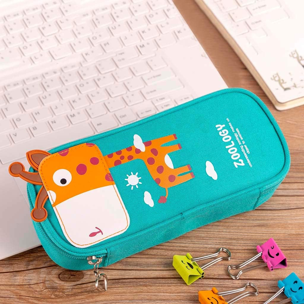 Lataw Cute Cartoon Pencil Box Student Leather Pencil Pen Case Box Makeup Pouch Brush Holder Bag Pouch Holder for Middle High School Office College Student Girl