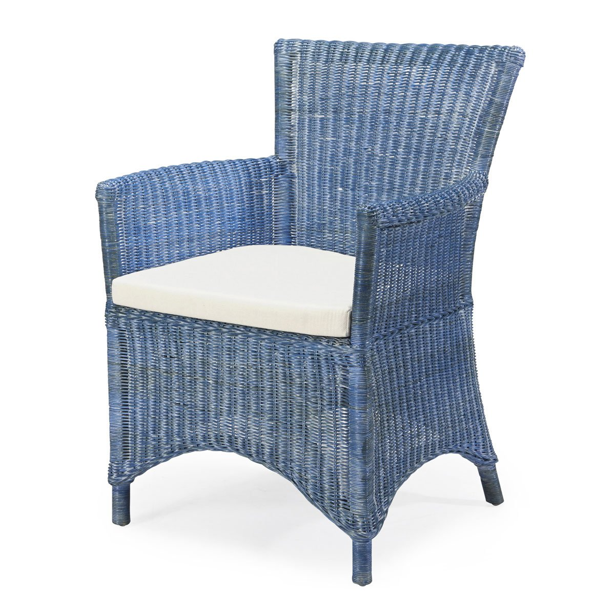 Rattan-Sessel ROSAS - Rattan - Vintage - inkl. Sitzkissen - Blau ...