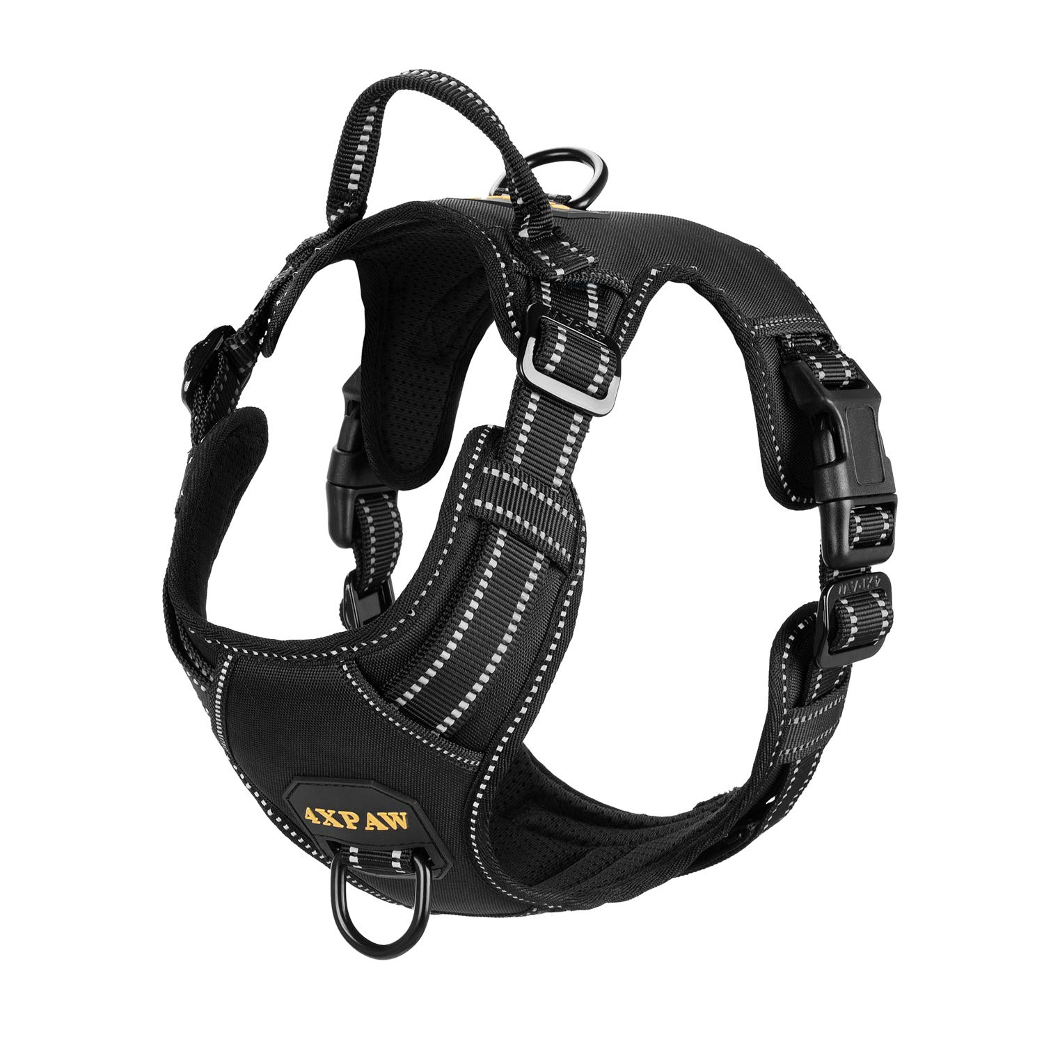 4XPAW Dog Harness with Padded Handle,Reflective in Night,Nylon Oxford Mesh Soft Padding Lining, No-Pull Metal D Ring…