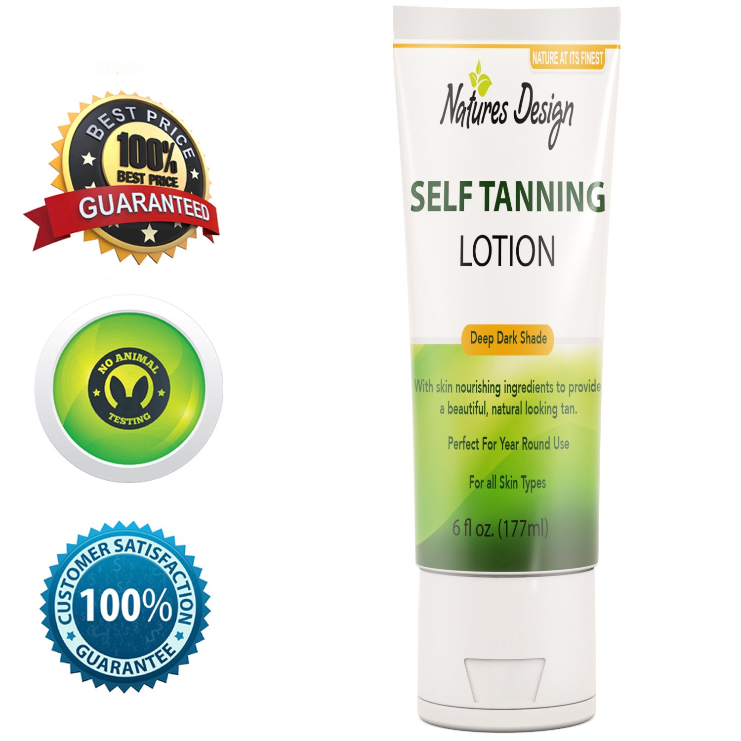Natural Dark Outdoor Self-Tanning Lotion For Body Face And Legs-Rich In DHA Other Fatty Acids Antioxidants & Coconut Oil- Easy To Apply - Streak Reducing Self-Tanner - UV Protection-6 Oz. by Natures Design