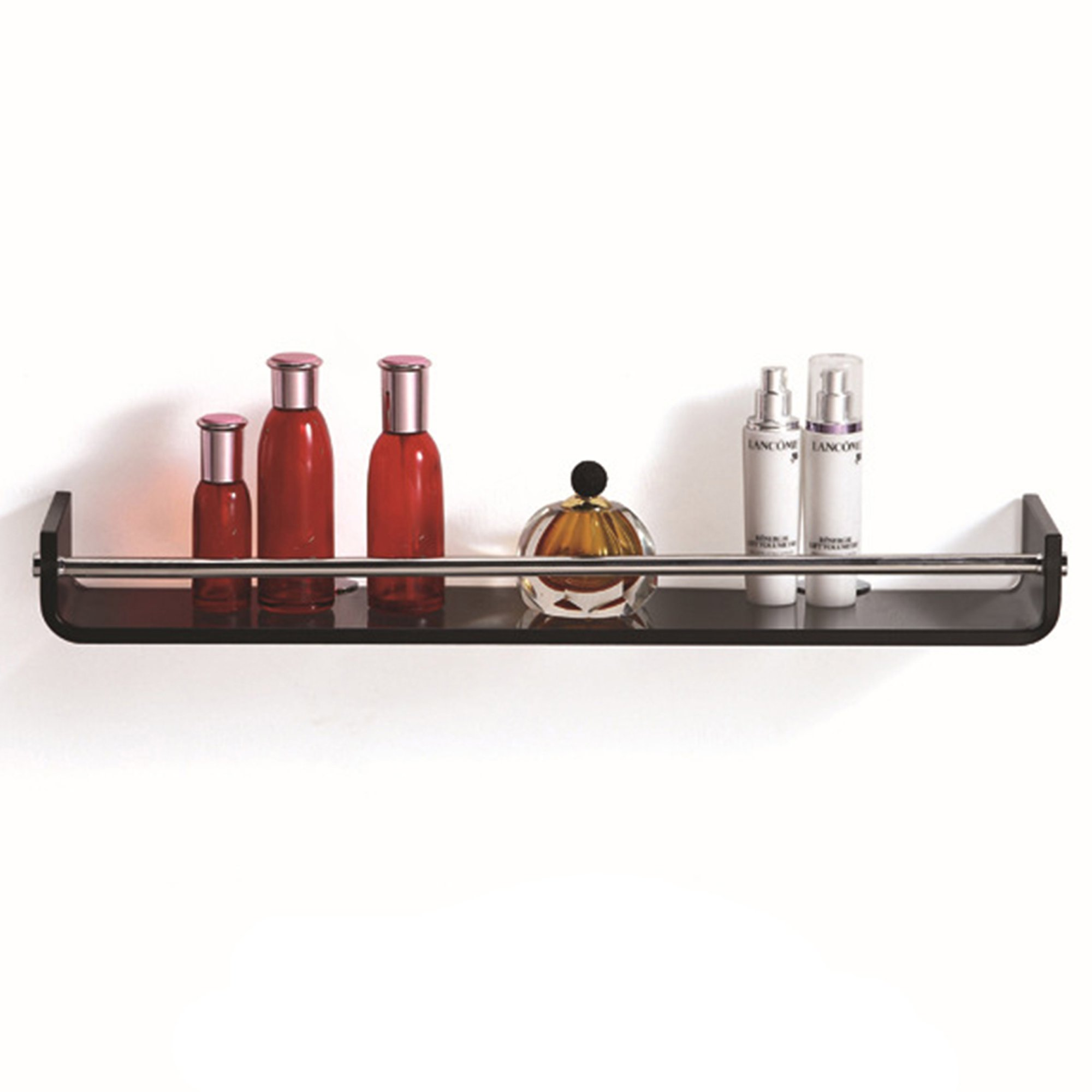 Fab Glass and Mirror FGM-L-V002 Midnight Veil Glass Wall Shelf, Black by Fab Glass and Mirror
