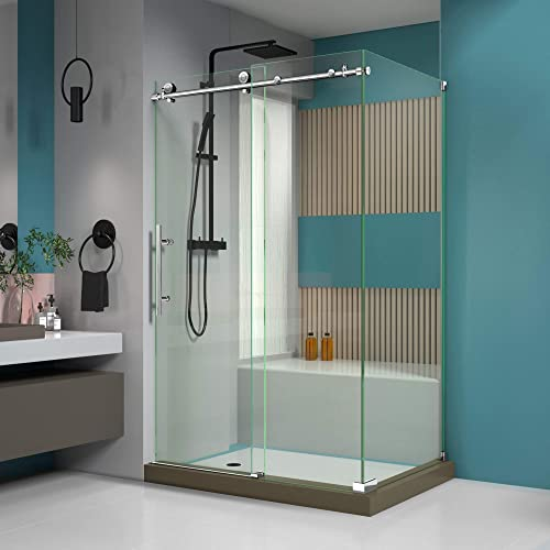 DreamLine Enigma-X 34 1 2 in. D x 48 3 8 in. W x 76 in. H Fully Frameless Sliding Shower Enclosure in Polished Stainless Steel, SHEN-6134480-08