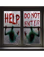 Angmart 2PCS Halloween Giant Bloody Window Posters Window Clings Party Decoration Haunted House Door Cover Creepy School Dormitory Window Decoration