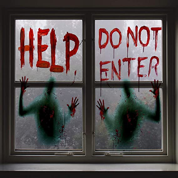 """Amazon.com: Angmart 2PCS Halloween Giant Bloody Window Posters Window Clings Party Decoration Haunted House Door Cover Creepy School Dormitory Window 60"""" x 60"""": Everything Else"""