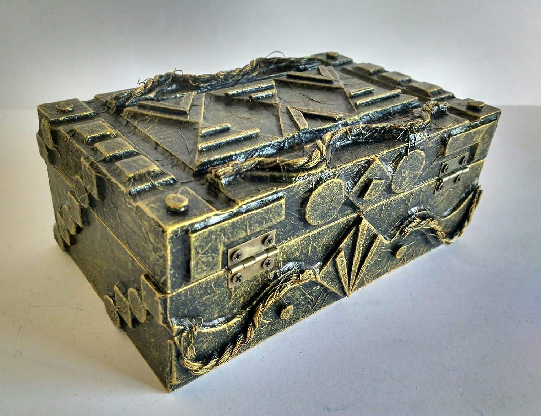 Cajas de madera decoradas con materiales reciclados hecho a mano: Amazon.es: Handmade