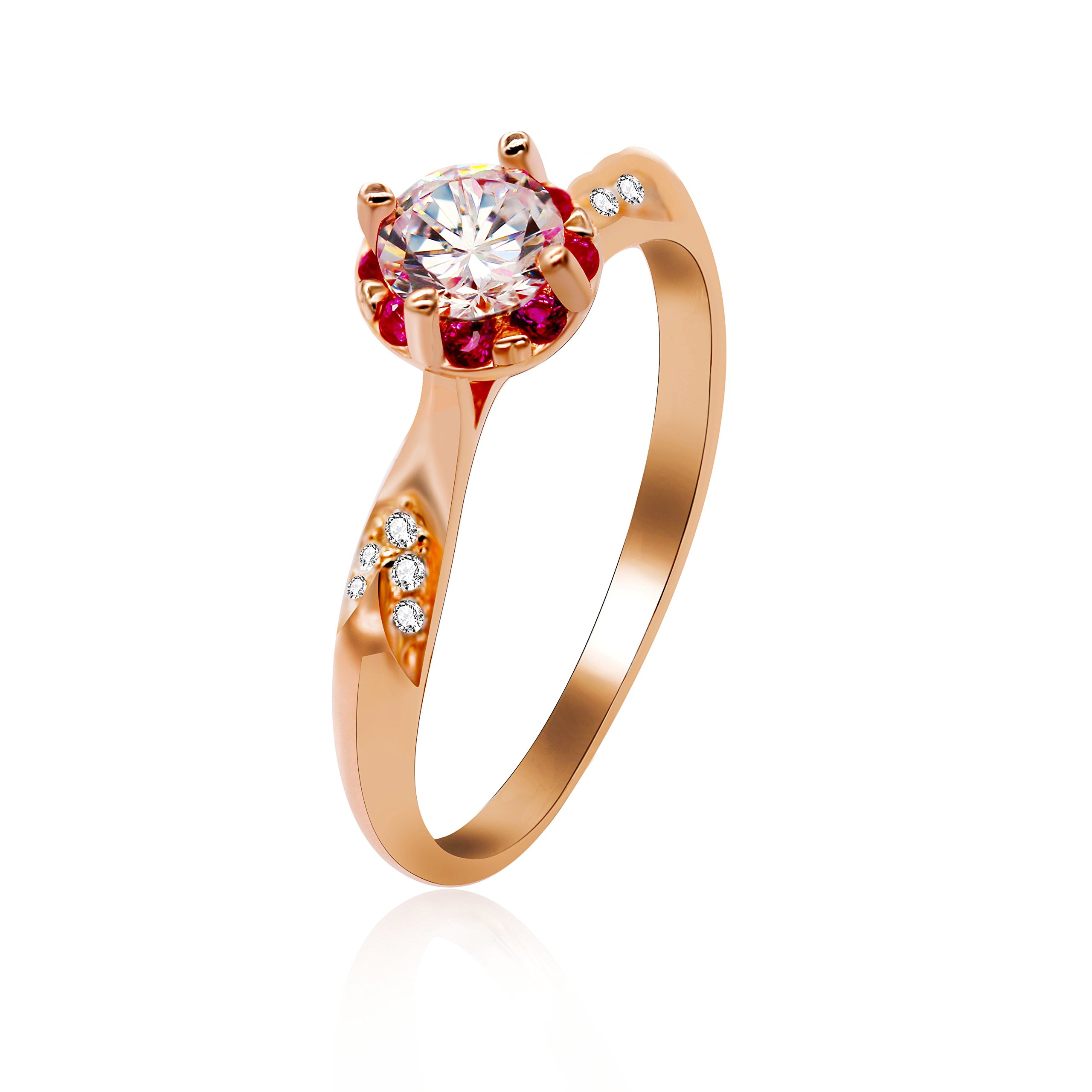 Uloveido 2g 925 Sterling Silver Rose Gold Plated Serend Round Cubic Zirconia Solitaire Wedding Engagement Rings Whte & Pink CZ in Flower Shape Size 5 LJ091