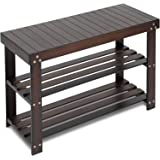 Bamboo Shoe Rack Bench, 3-Tier Sturdy Shoe Organizer, Storage Shoe Shelf, Holds up to 220 LBS for Entryway Bedroom Living Roo